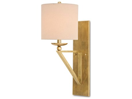 Currey & Company Anthology Vintage Brass 9'' Wide Wall Sconce with Light Beige Shantung Shade CY5181