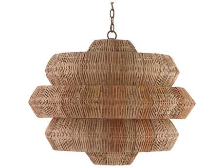 Currey & Company Antibes Khaki / Natural Nine-Light 30'' Wide Pendant Ceiling Light CY9859