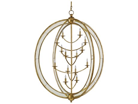 Currey & Company Aphrodite Large Gold Granello / Antique Mirror 14-Light 43'' Wide Grand Chandelier CY9236