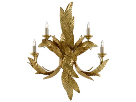 Currey & Company Apollo Contemporary Gold Leaf 4-light Vanity Light