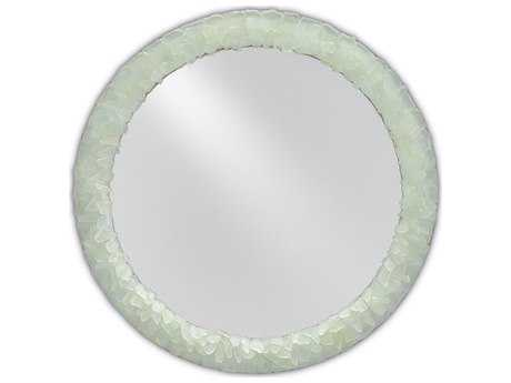 Currey & Company Arista 22'' Round Harlow Silver Leaf and  Seaglass Wall Mirror CY10000006