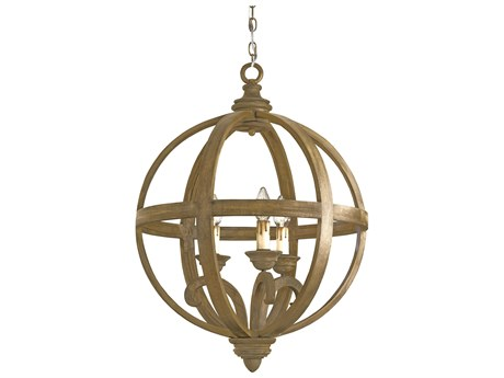 Currey & Company Axel Orb Chestnut Three-Light 24'' Wide Mini-Chandelier CY9133