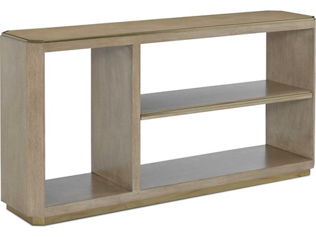 Currey & Company Bali Light Wheat / Brushed Brass 60'' Wide Rectangular Console Table