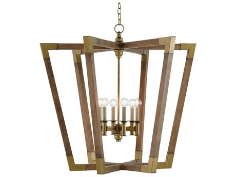 Currey & Company Bastian Chestnut / Brass Six-Light 37.25'' Wide Chandelier CY90000008