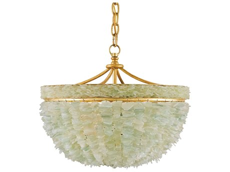 Currey & Company Bayou Gold Seaglass Three-Light 19'' Wide Mini-Chandelier