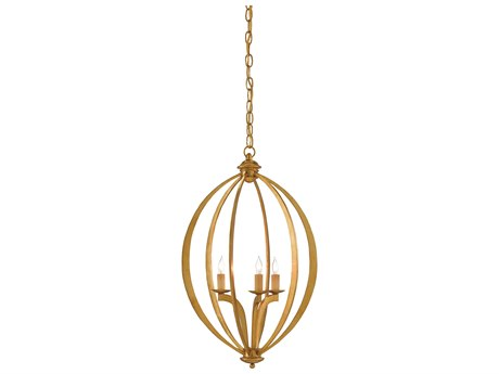 Currey and Company Bella Luna Antique Gold Leaf Three-Light 16'' Wide Small Chandelier CY90000073