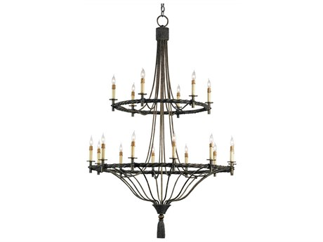 Currey & Company Priorwood Pyrite Bronze 18-Light 40'' Wide Grand Chandelier CY9174