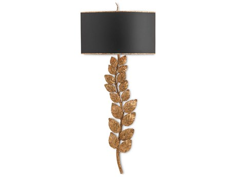 Currey & Company Birdwood Gold and Satin Black Wall Sconce CY5221