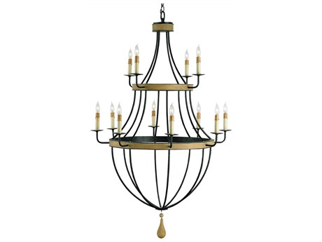 Currey & Company Blythwood Umber Rust 12-Light 33'' Wide Chandelier CY9195