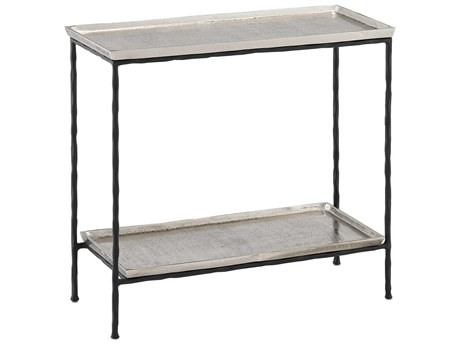 Currey & Company Boyles Antique Silver / Black 24'' Wide Rectangular End Table