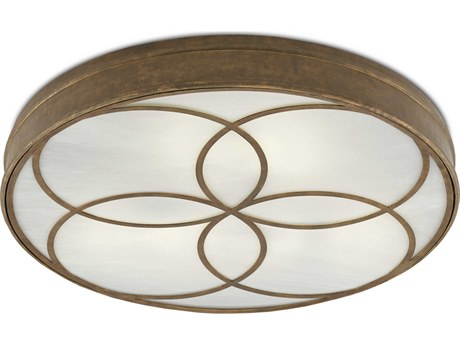 Currey and Company Bramshill Rustic Gold Three-Light 32'' Wide Flush Mount CY99990025