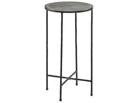 Currey & Company Brett 14'' Round Black and Nickel Drinks Table