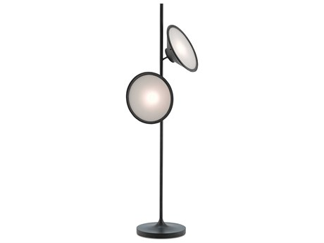 Currey and Company Bulat Antique Black Two-Light Floor Lamp