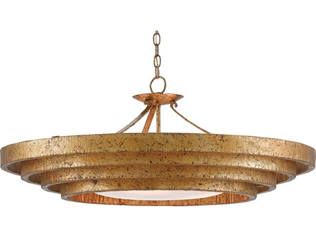Currey and Company Bunny Williams Gold Leaf Three-Light 36'' Wide Belle Chandelier CY90000187