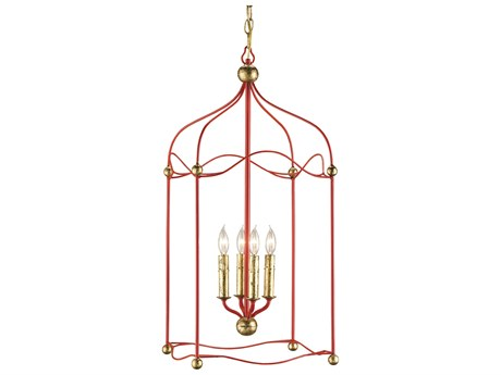 Currey & Company Carousel Lollipop Red Four-Light 14'' Wide Mini-Chandelier CY9033