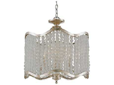 Currey & Company Chanson Silver Granello Six-Light 20'' Wide Convertible Mini-Chandelier/Semi-Flush Mount Light CY9852