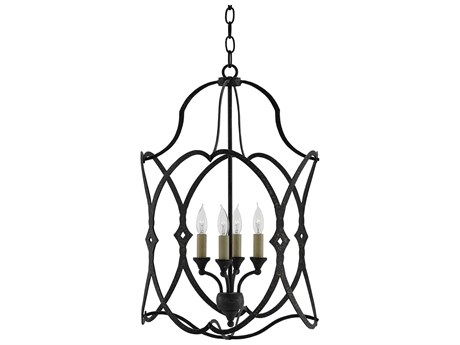 Currey & Company Charisma French Black Four-Light 16'' Wide Mini-Chandelier CY90000024