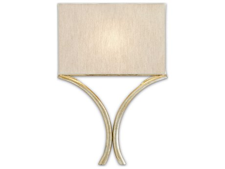 Currey & Company Cornwall Silver Leaf 12'' Wide Wall Sconce with Natural Linen Shade CY59000006