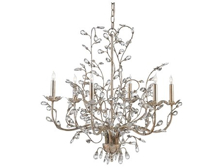 Currey & Company Crystal Bud Silver Granello Six-Light 28'' Wide Chandelier CY9973