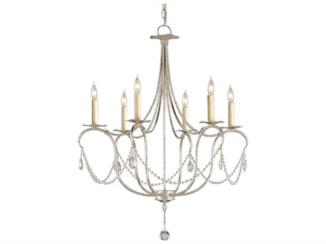 Currey & Company Crystal Lights Silver Six-Light 27'' Wide Chandelier CY9890