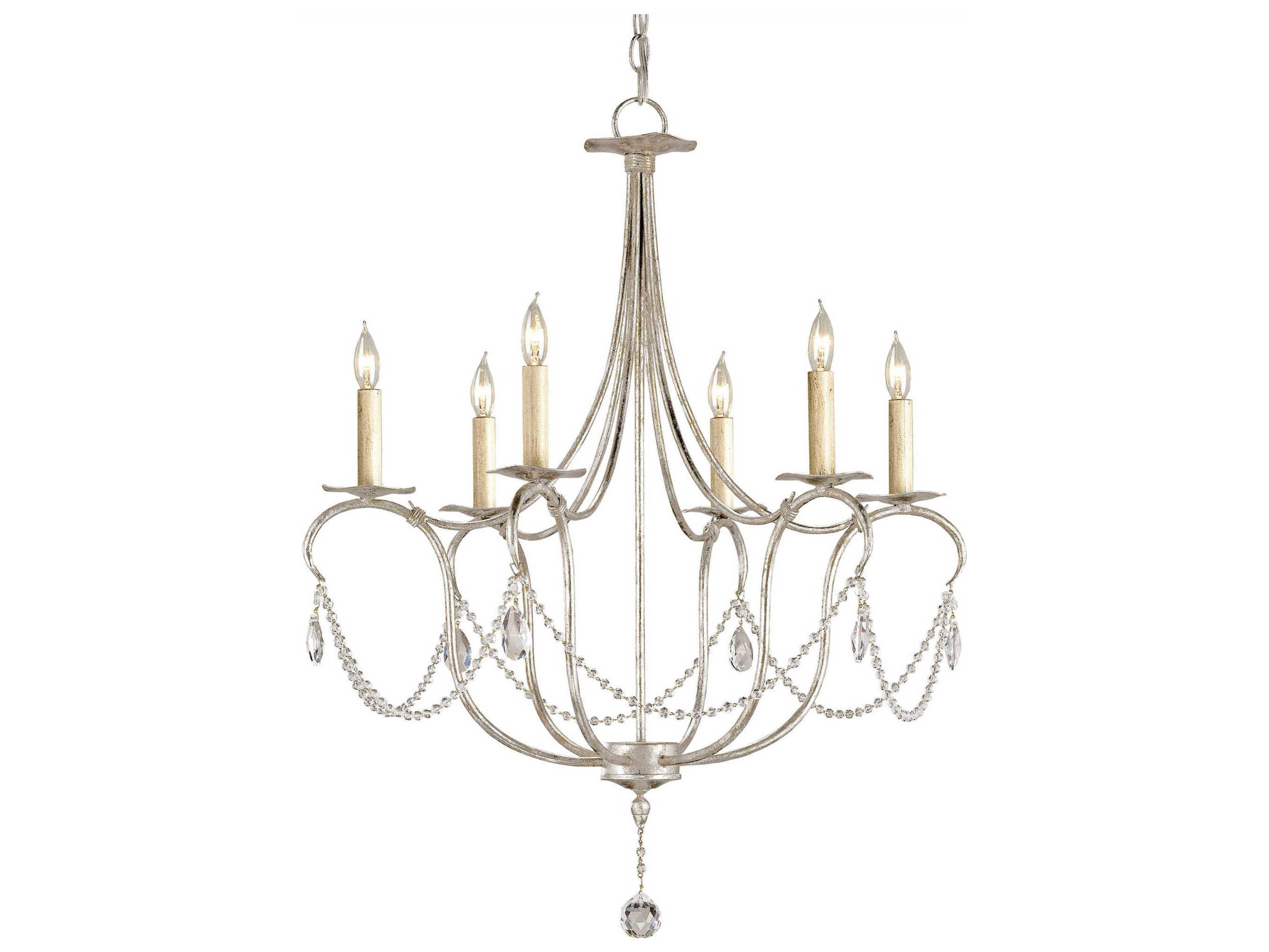 Currey Company Crystal Lights Silver Six Light 27 Wide Chandelier