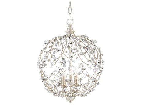 Currey and Company Crystal Bud Silver Granello Three-Light 13'' Wide Sphere Mini-Chandelier CY90000076