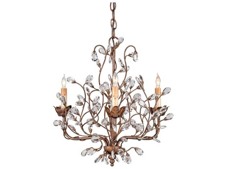 Currey & Company Crystal Bud Three-Light 18'' Wide Mini Chandelier CY9883