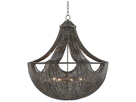 Currey & Company Eduardo Natural Iron / Brass Six-Light 30.25'' Wide Pendant Ceiling Light CY90000018