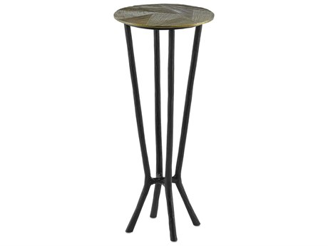 Currey & Company Black / Antique Gold 11'' Wide Round End Table