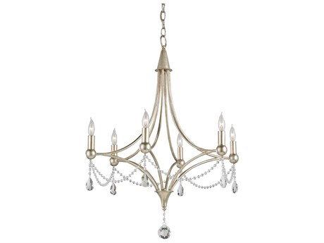 Currey & Company Etiquette Chinois Antique Silver Six-Light 24'' Wide Mini-Chandelier CY9831