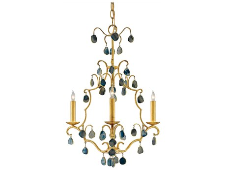 Currey & Company Eudora Antique Gold Leaf / Blue Three-Light 19'' Wide Mini-Chandelier CY90000035