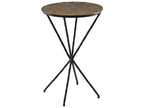 Currey & Company Figuier Patina Brass / Black 16'' Wide Round End Table