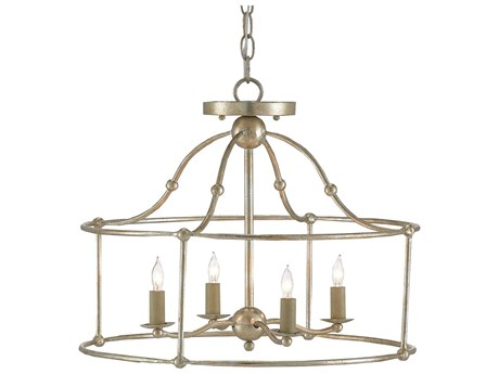 Currey & Company Fitzjames Silver Granello Four-Light 20'' Wide Convertible Mini-Chandelier/Semi-Flush Mount Light CY90000052