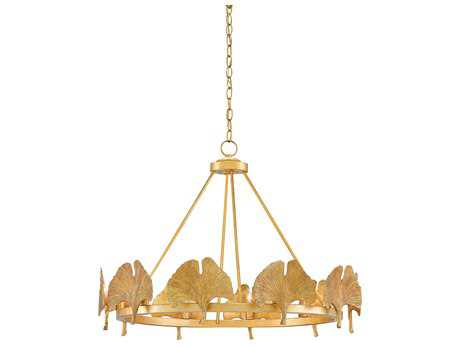 Currey & Company Gin Kyo Dark Contemporary Gold Leaf Ten-Light 32'' Wide Pendant Ceiling Light CY90000133