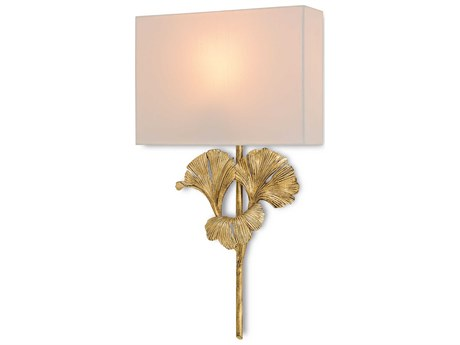 Currey & Company Gingko Chinois Antique Gold Wall Sconce