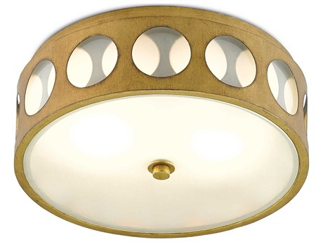 Currey & Company Go-Go Brass / White Opaque Glass Two-Light 16'' Wide Flush Mount Light