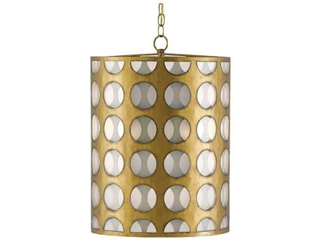 Currey & Company Go-Go Brass / Opaque Three-Light 16'' Wide Pendant Ceiling Light CY90000111