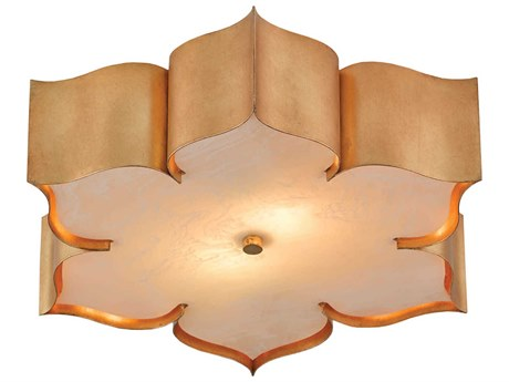 Currey & Company Grand Lotus Antique Gold Two-Light 19'' Wide Flush Mount Light