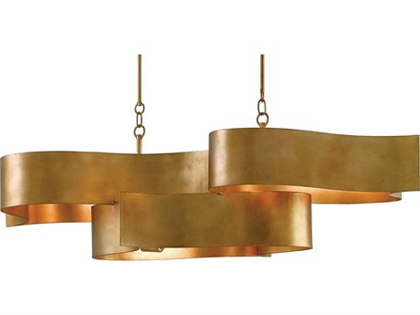 Currey & Company Grand Lotus Oval Antique Gold Six-Light Island Light