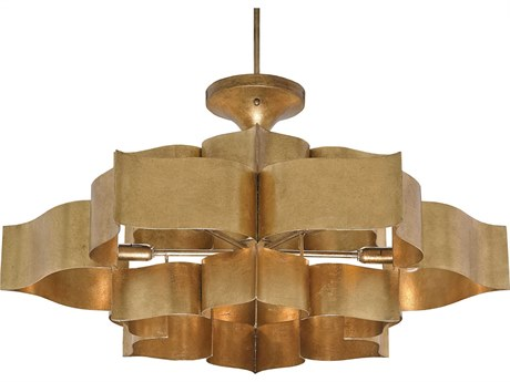 Currey & Company Grand Lotus Two Tier Six-Light Semi-Flush Mount Light