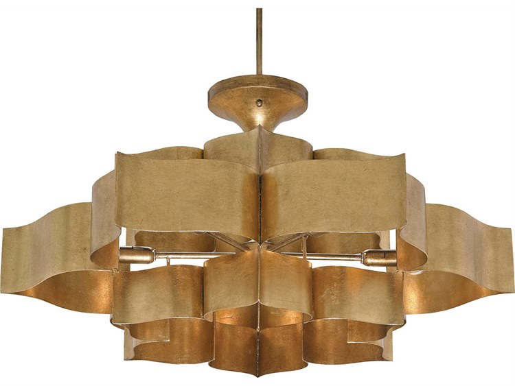Currey Company Grand Lotus Two Tier Six Light Semi Flush Mount