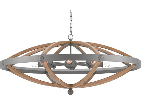 Currey and Company Highbank Gray Eight-Light Circle 49'' Wide Grand Chandelier CY90000202