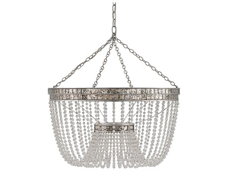 Currey & Company Highbrow Silver Eight-Light 24'' Wide Mini-Chandelier CY9685