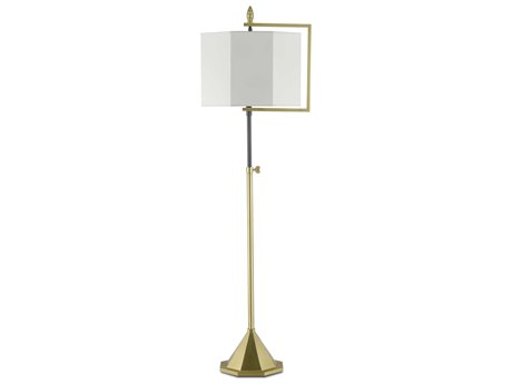Currey & Company Hopper Brushed Brass / Oil Rubbed Bronze 1-light Floor Lamp