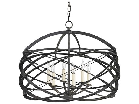 Currey & Company Horatio Black Six-Light 27'' Wide Chandelier CY9729