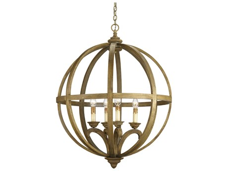 Currey & Company Axel Orb Chestnut Wood Four-Light 32'' Wide Chandelier CY9015