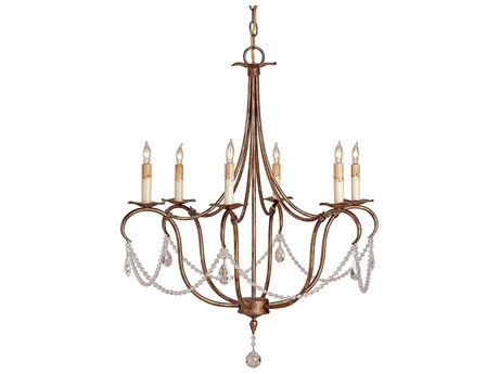 Currey & Company Crystal Gold Six-Light 27'' Wide Chandelier CY9880