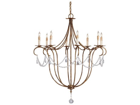 Currey & Company Crystal Rhine Gold Eight-Light 31'' Wide Chandelier CY9881