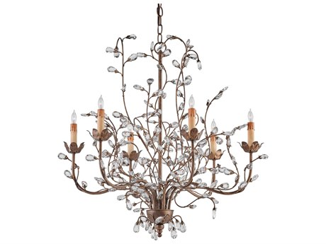 Currey & Company Crystal Cupertino Bud Six-Light 28'' Wide Chandelier CY9882