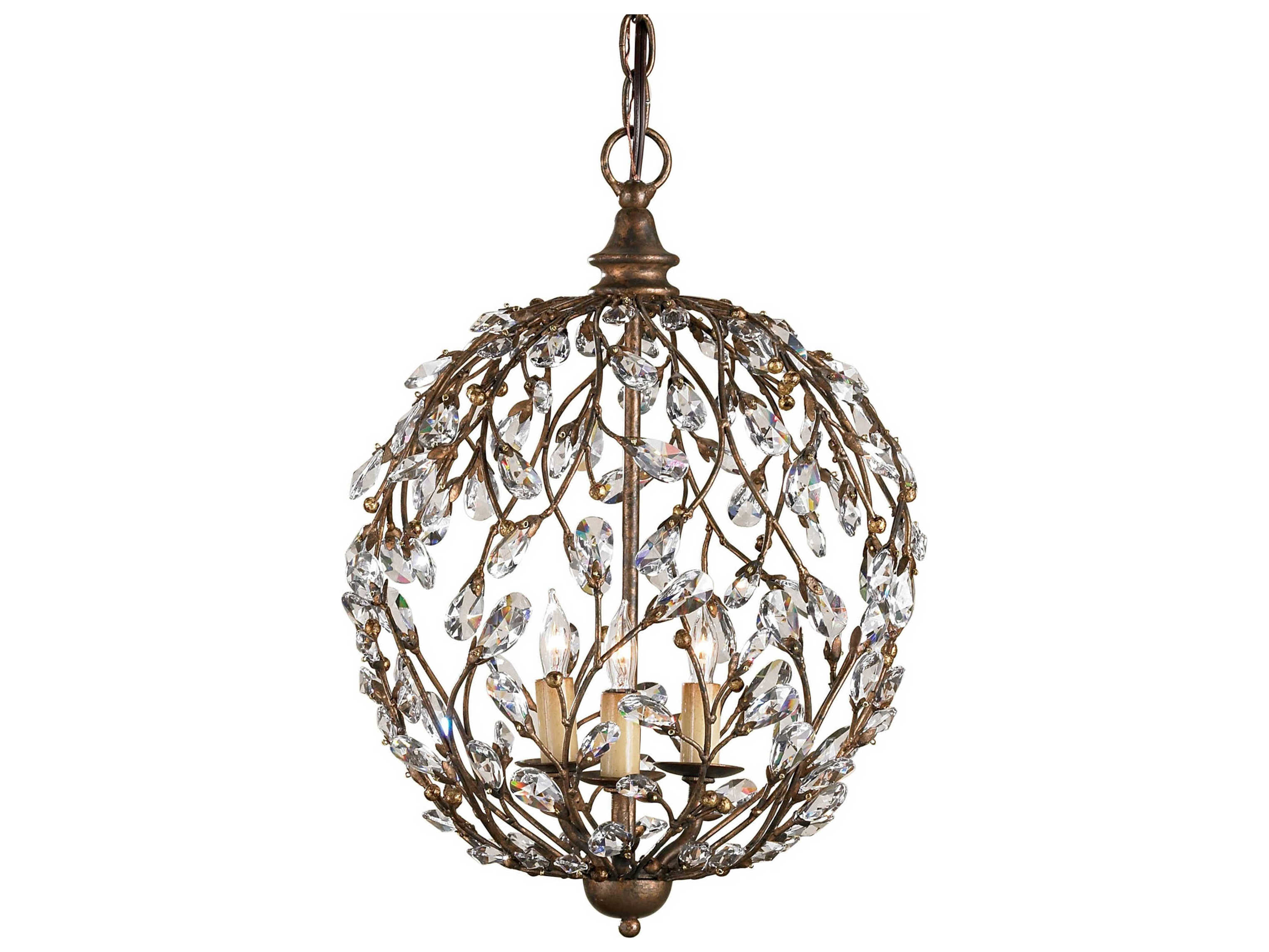 Currey Company In A Hurry Cupertino Three Light 13 Wide Mini Chandelier